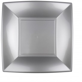 "Plastic bord Plat grijs ""Nice"" PP 29 cm (144 stuks)"