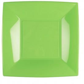 Assiette Plastique Plate Vert citron Nice PP 290mm (12 Utés)