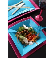 Assiette Plastique Réutilisable Plate Fuchsia PP 230mm (300 Utés)