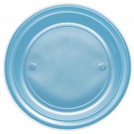 Plastic bord PS Diep turkoois Ø22 cm (30 stuks)