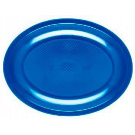 """Plastic schotel Ovaal vormig mediterranean blauw """"Rond vormig"""" PP 30,5 cm (300 stuks)"""