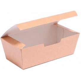 BIO Kartonnen take-out doos kraft 16,5x7,5x6cm (600 stuks)
