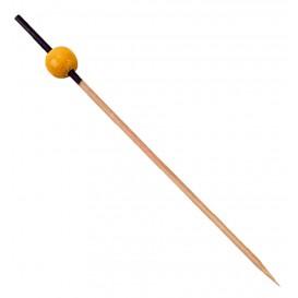Bamboe vleespennen zwart en geel 12cm (200 stuks)
