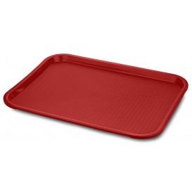 Plateau Rectangulaire pour Fast Food Rouge 35,5x45,3cm (24 Utés)