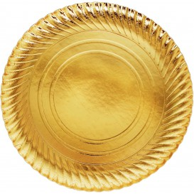 Assiette ronde Carton Doré 300mm (200 Unités)