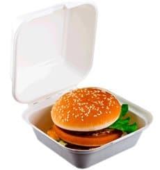 Boîte à Hamburger Canne à Sucre Blanc 152x152x84mm (50 Utés)