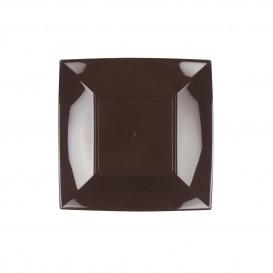 Assiette Plastique Réutilisable Plate Brun PP 180mm (300 Utés)