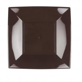 "Plastic bord Plat bruin ""Nice"" PP 23 cm (25 stuks)"