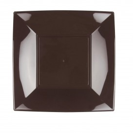 "Plastic bord Plat bruin ""Nice"" PP 23 cm (300 stuks)"