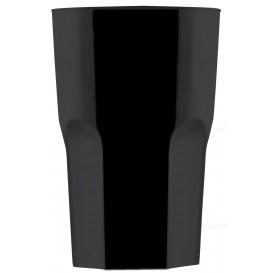 """Plastic glas SAN Herbruikbaar """"Graniten"""" zwart 400 ml (5 stuks)"""