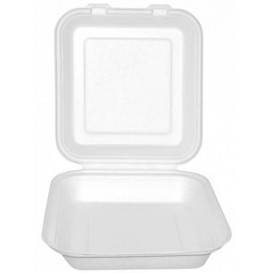 """Suikerriet Gescharnierd Container """"Menu Box"""" wit 20x18x5cm (50 stuks)"""