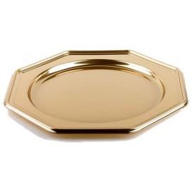 Plastic oplader bord PET Achthoekig goud 30 cm (50 stuks)