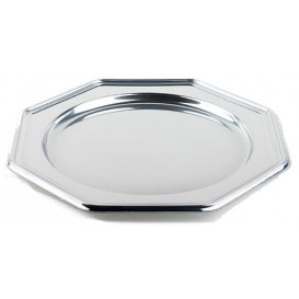 Plastic oplader bord PET Achthoekig zilver 30 cm (5 stuks)
