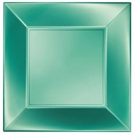 "Plastic bord Plat groen ""Nice"" parel PP 29 cm (12 stuks)"