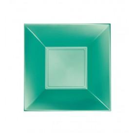 "Plastic bord Diep groen ""Nice"" parel PP 18 cm (25 stuks)"