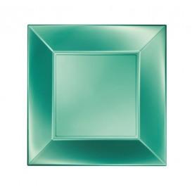 "Plastic bord Plat groen ""Nice"" parel PP 18 cm (25 stuks)"