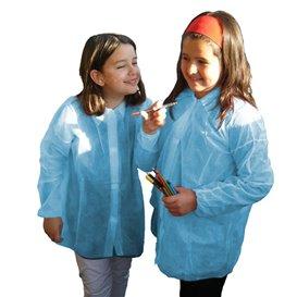 Wegwerp kinder lab jas TST PP Velcro blauw (50 stuks)