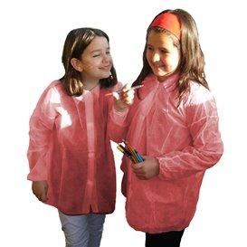 Wegwerp kinder lab jas TST PP Velcro rood (50 stuks)