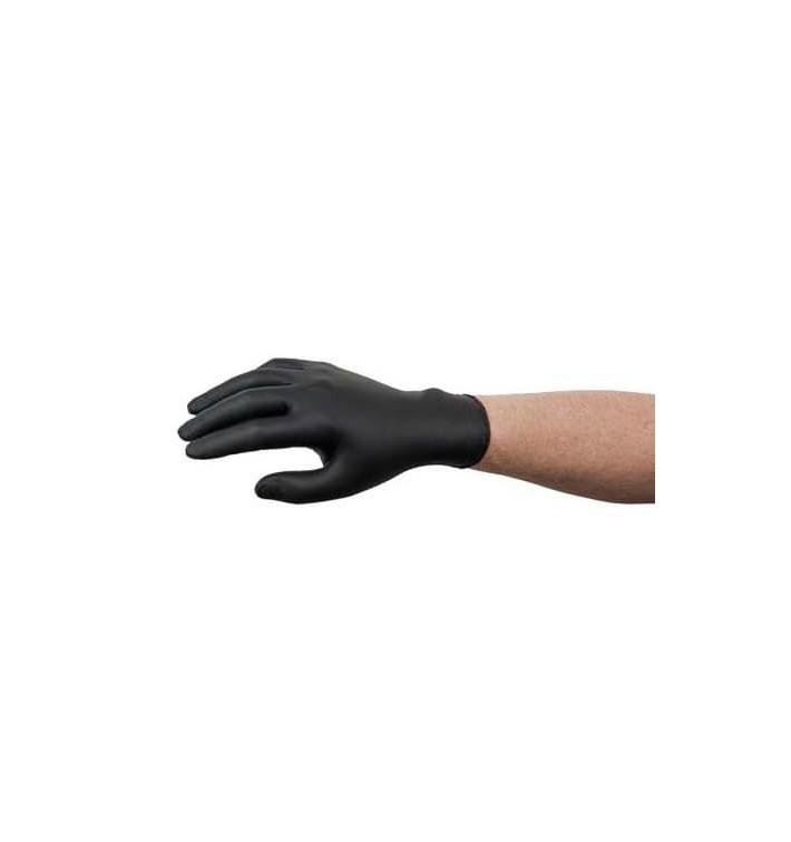 Gants Nitrile sans Poudre Noir Taille L AQL 1.5 (100 Utés)