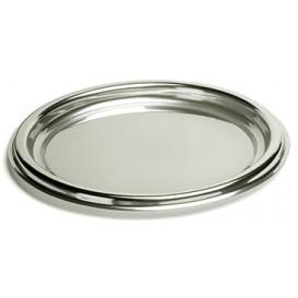 Plastic dienblad Rond vormig zilver 30 cm (50 stuks)