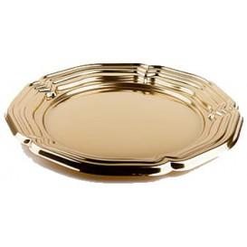 Plastic dienblad Rond vormig goud 46 cm (50 stuks)