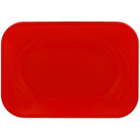 """Plastic dienblad microgolfbaar """"X-Table"""" rood 33x23cm (60 stuks)"""