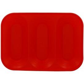 """Plastic dienblad microgolfbaar """"X-Table"""" 3C rood 33x23cm (30 stuks)"""