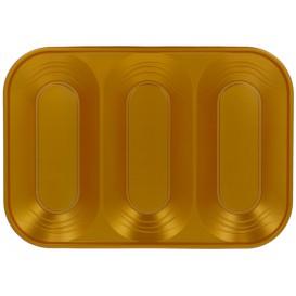"Plastic dienblad microgolfbaar ""X-Table"" 3C goud 33x23cm (2 stuks)"