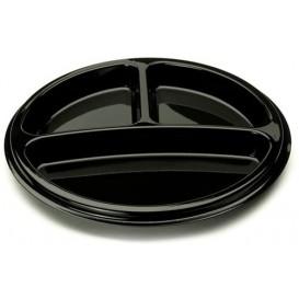 Assiette en Plastique Noire 3 Compartiments 26cm (250 Utés)