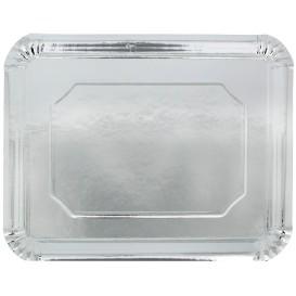Plat rectangulaire en Carton Argenté 34x42cm (50 Unités)