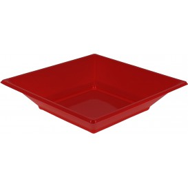 Assiette Plastique Creuse Carrée Rouge 170mm (25 Unités)