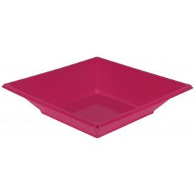 Plastic bord Diep Vierkant fuchsia 17 cm (5 stuks)
