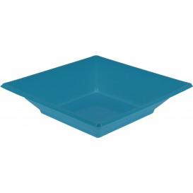 Plastic bord Diep Vierkant turkoois 17 cm (300 stuks)