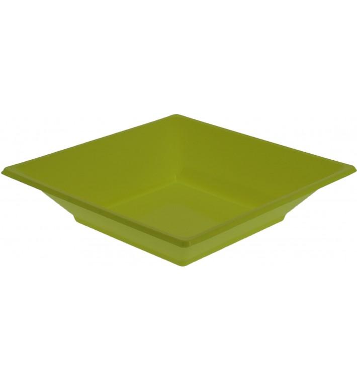 Assiette Plastique Creuse Carrée Pistache 170mm (750 Unités)
