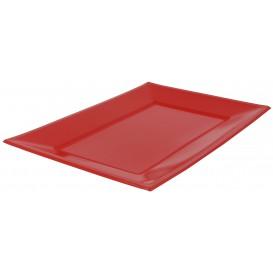 Plastic dienblad rood 33x22,5cm (3 stuks)