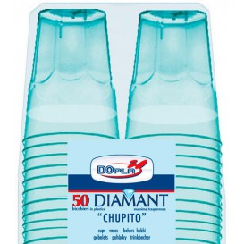 "Gobelet Shot ""Diamant"" PS Cristal Bleu 50ml (600 Utés)"