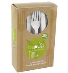 Fourchette Biodégradable CPLA Blanc 160mm en boîte (50 Utés)