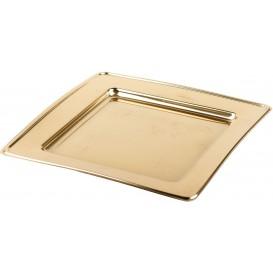 Plastic bord PET Vierkant goud 24cm (6 stuks)