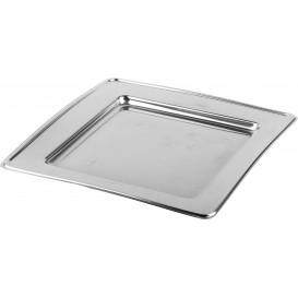 Plastic bord PET Vierkant zilver 24cm (180 stuks)