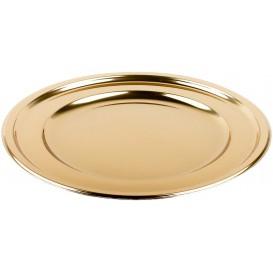 Plastic bord PET Rond vormig goud Ø23 cm (180 stuks)