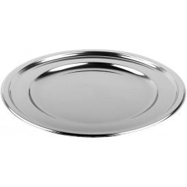 Plastic bord PET Rond vormig zilver Ø23 cm (6 stuks)