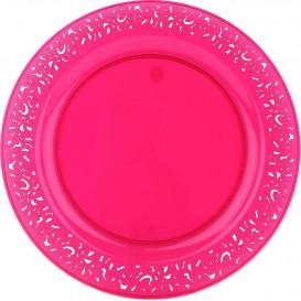 """Plastic bord Rond vormig """"Lace"""" framboos 19cm (4 stuks)"""