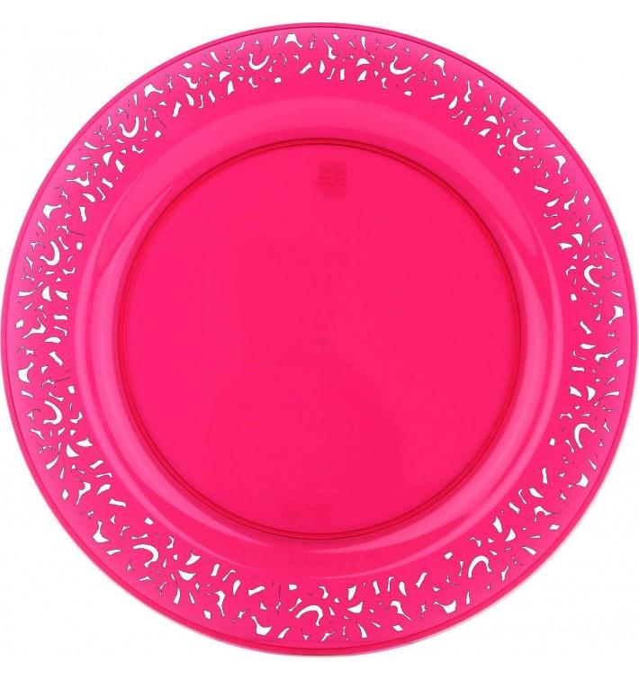 """Assiette Plastique Ronde """"Lace"""" Framboise Ø19cm (4 Utés)"""