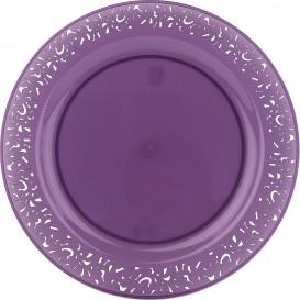 "Plastic bord Rond vormig ""Lace"" aubergine kleur 19cm (4 stuks)"