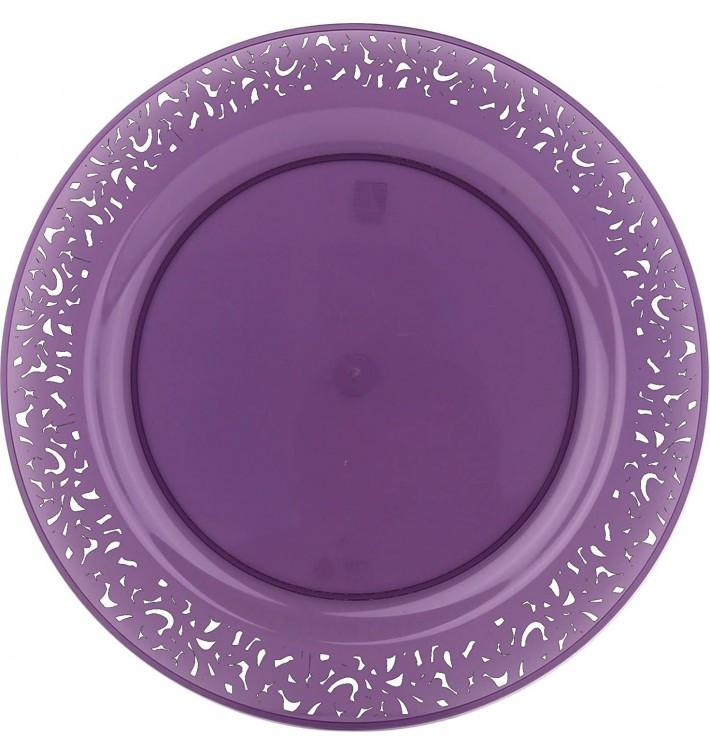 """Assiette Plastique Ronde """"Lace"""" Aubergine Ø19cm (4 Utés)"""