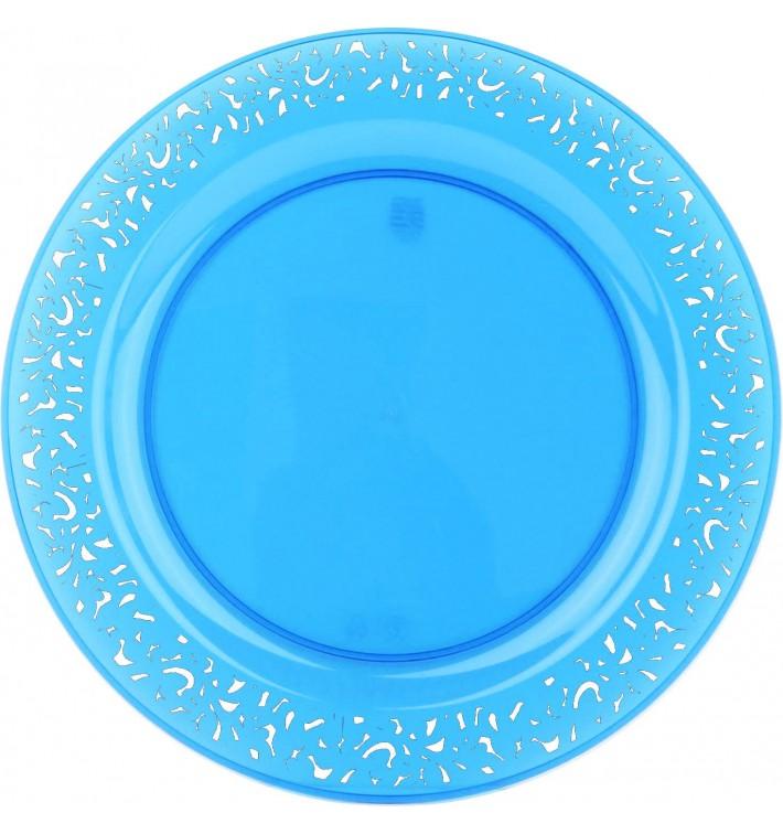 """Assiette Plastique Ronde """"Lace"""" Turquoise Ø23cm (88 Utés)"""