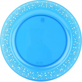 """Plastic bord Rond vormig """"Lace"""" turkoois 23cm (4 stuks)"""