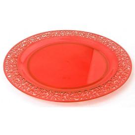 """Assiette Plastique Ronde """"Lace"""" Orange Ø19cm (4 Utés)"""