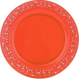 "Plastic bord Rond vormig ""Lace"" oranje 19cm (4 stuks)"
