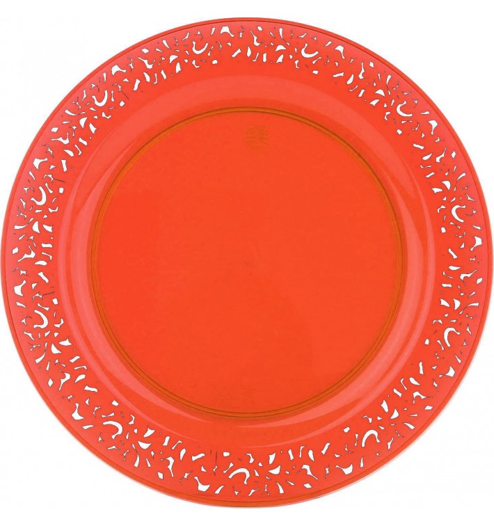 "Assiette Plastique Ronde ""Lace"" Orange Ø23cm (88 Utés)"
